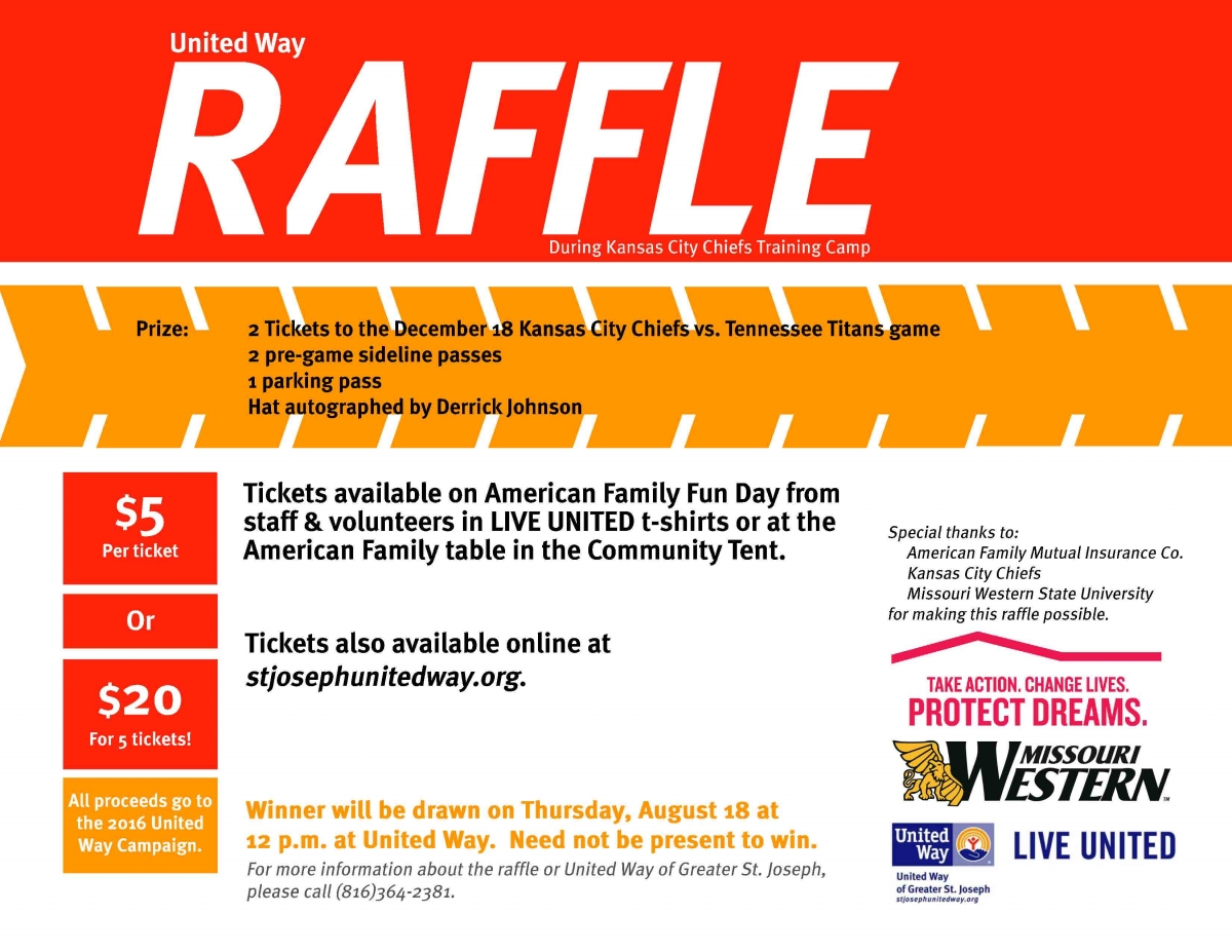 buy raffle for chiefs tickets united way of greater st joseph you are here